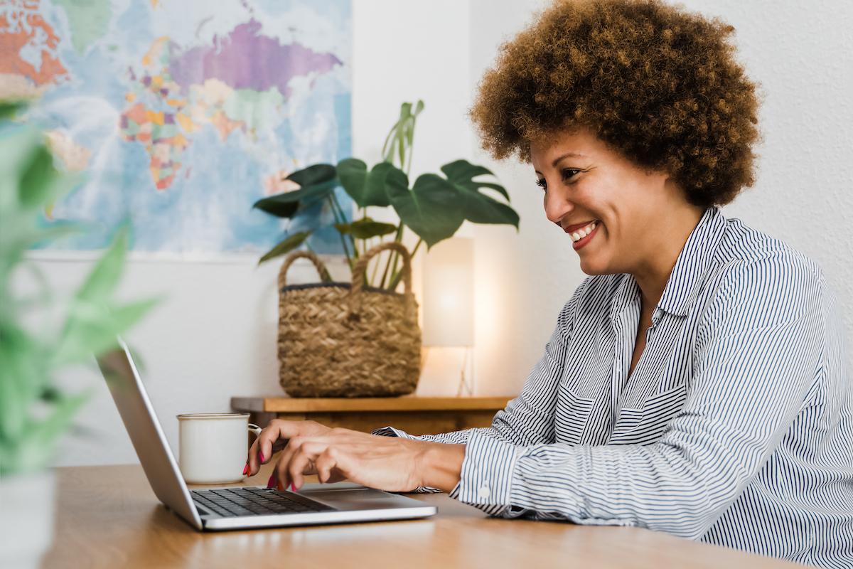 senior black woman on laptop